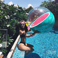 Wholesale paddle balls for sale - Inflatable D Swimming Ball Sea Play Adult Funny Beach Balls Red Pomelo Watermelon Pattern PVC Orange Paddle Toys csD1