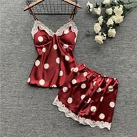 weiße spitze cami xl großhandel-Damen Nachtwäsche Sexy Satin Pyjama Set White Lace V-Ausschnitt Polka Dot Pyjamas Sleeveless Cute Cami Top und Shorts T190618
