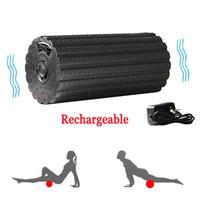 muskel-stick massage großhandel-Einstellbare Elektrische Vibrationsmassage Yoga-Säule Schaumstoffrolle Muskelregenerationsmassagegerät Fitness Elektrische Massagestab Rückenlehne