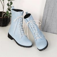 Wholesale long toes shoes resale online - New Fashion Autumn Lace Up Ladies Ankle Boots For Women England Boots Long Denim Shoes Flat Casual Woman Plus Size