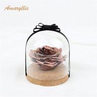 ingrosso rose d'oro vere-Amaryllis A Grade di alta qualità tocco reale oro immortale fiore eterno Rose conservate in cupola di vetro perenne