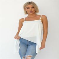 camis largo blanco al por mayor-Mujeres Verano No Blanco Mangos sólidos Tops Camisola de damas Irregular Long Sling Vest Cami Cropped Female 710