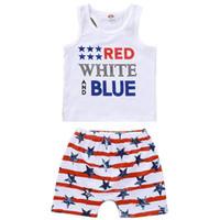 Wholesale flag tops girls resale online - Infant Girl Clothing Sets Sleeveless Striped Shorts Letter Print Top Kids Designer Sets American Flag Independence National Day USA th July