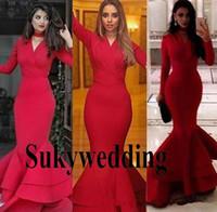 kim kardashian sereia vestido de baile venda por atacado-2019 Modest Kim Kardashian Mermaid Evening Formal Vestidos Yousef Aljasmi Pescoço V Sereia Ruffles Dubai árabe Red Prom Vestidos de celebridades