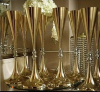 Wholesale white gold silver wedding decorations for sale - Group buy 70cm inches tall White Silver Wedding Flower vase Bling Table Centerpiece Sparkling Wedding Decoration Banquet Road Lead Decor