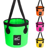 Wholesale portable car wash bucket for sale - Group buy 12L L Water Bucket Container Foldable Water Container Portable Lightweight Pail Bucket For Camping Fishing Car Washing Colors M238Y