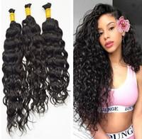 cabello natural mojado al por mayor-Grado 9a Micro Mini Hair Braiding de pelo a granel brasileña Para el lote del trenzado 3pcs 100% húmedo humana y ondulado brasileño Hair Braiding