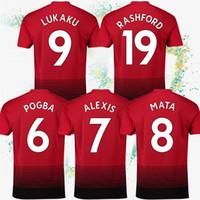camisetas de fútbol de alta calidad al por mayor-18/19 6 Pogba 9 Jerseys de fútbol Lukaku 7 ALEXIS 8 Mata 19 Rashford Barato y fino Traje de fútbol personalizable de alta calidad
