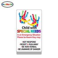 özel araba etiketi toptan satış-Toptan 20 adet / grup Çocuk Özel İhtiyaçları Acil Uyarı Sticker Araba Van Pencere Tampon Araç Çıkartması Su Geçirmez 13 cm X 9 cm