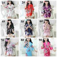sommer sleepwear für kinder großhandel-Kinder Pfau Seide Nachthemd Kinder Blumen Kimono Pyjams Baby Mädchen Sommer Hause Nachtwäsche 9 Arten insgesamt