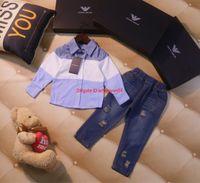 Wholesale kids jeans set fashion resale online - designer shirt set kids Boy clothing color matching shirt jeans boy jeans set autumn fashion new