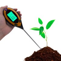 termómetro de humedad al por mayor-Instrumento de estudio de suelo 4 en 1 Planta Suelo pH Luz Humedad Medidor de suelo Termómetro Valor de Ph Luz solar Probador Venta al por mayor caliente T8190619