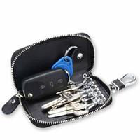 fernbedienung für autos großhandel-Autoschlüssel Kette Tasche Schlüsselanhänger Echtes Leder Smart KeyChain Halter Hülle Tasche Remote Fob Tasche Schlüsselanhänger Brieftasche Reißverschluss Fall Schwarz