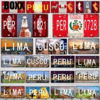 Wholesale landscape art posters for sale - Group buy 30X15CM Peru Vintage Travel Metal Poster Lima landscape Decorative Signs Wall Art Restaurant Home Decor