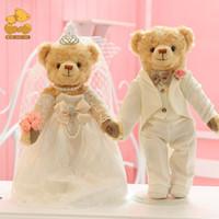 paar puppe bär groihandel-Hochzeit Puppen Paar Puppen 36cm Gelenke drehbare Teddybär Paar hochwertige bevorzugte Hochzeitsgeschenke Sammlung Spielzeug
