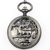 мужские наручные часы оптовых-Fashion  Mechanical Pocket Watches Mens Hand Wind Up Steampunk Sika Deer Logo Pocket Watch With Watch For Gift