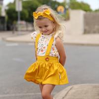 cabeça amarela flor crianças venda por atacado-Crianças Conjuntos de Calções Baby Girl flor camisa de impressão + saia amarela + headband 3 pcs outfit Primavera verão roupa