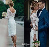 Wholesale knee length beach wedding dresses for sale - Group buy Summer Vintage Short Wedding Dresses Knee Length Simple Short Sheath Wedding Dresses Beach Bridal Gowns