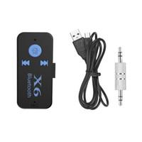 lector de tarjetas blanco al por mayor-Bluetooth X6 Adaptador Receptor de Música para automóvil 3.5mm Jack Manos Libres Inalámbrico Car Kit Tarjeta TF Función de Lector de Pera Blanco Paquete 100pcs / lot