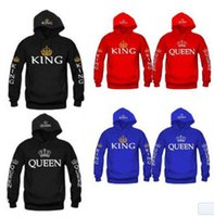 königin kapuzenpullis großhandel-Männer Frauen Liebhaber Hoodies Lässige KING Queen Crown Print Tasche Hoody Schlank Sweatshirt Paar Warme Kapuzenpullover Mantel