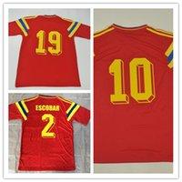 jerseys de futebol frete grátis venda por atacado-Frete grátis Retro jerseys 1990 90 temporada # 2 # 10 # 19 Colômbia jersey camisa vermelha de manga curta camisas de futebol S-XXL
