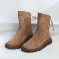 коричневые ботинки платформы кружева оптовых-2019 Новая мода Узелок Boots Brown Boots женщин платформы Cute снег Теплый Плюшевые скольжению меха Женская обувь U11-27