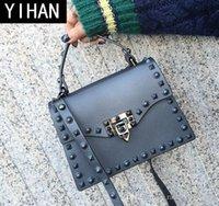 ingrosso nuove borsette smerigliate-Borsa da donna di marca indipendente da fabbrica estate nuova gelatina smerigliata borsa diamante antico borsa casual tracolla da donna rivetto