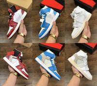 ingrosso scarpe da basket donna-nuovo Con scatola originale Scarpe da ginnastica uomo e donna sneakers bianche 1 1s scarpe da basket scarpe firmate Powder Blue UNC Athletic Sport Sneakers