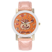 Wholesale pumpkin decor resale online - Pumpkin with Candy Cute Watches For Ladies Girls Clock Watch Fashion Alloy Round Quartz Watch Halloween Dress Decor Shellhard