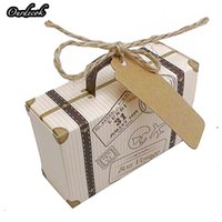 Wholesale mini card suitcase resale online - 100 Creative Mini Suitcase Candy Box Candy Packaging Carton Wedding Gift Box Event Party Supplies Wedding favors with Card
