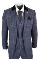 klasik smokin 44 toptan satış-Erkek Mavi Lacivert 3 Parça Suit Tüvit Takım Balıksırtı Vintage Peaky Blinders Custom Made Damat Düğün Smokin Ile Kravat Giymek