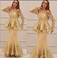 peplum stil formale kleider großhandel-2020 arabische Halfter neuen Stil mit langen Ärmeln Spitze Abendkleider mit Schößchen Applique Tüll Meerjungfrau Prom Party formelle Kleider