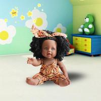 muñecas de hombres negros al por mayor-Africano! 12inch Simulación Juguetes para niños Muñeca de silicona de vinilo Muñeca negra para hombres lol muñecas de silicona recién nacidas renacidas