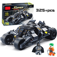 Wholesale block toys vehicles online - Super Heroes Avengers Batman Race Truck Car Model Technic Building Block Sets DIY Toys Compatible With LegoINGly Batman