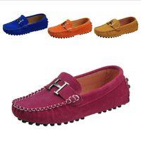 туфли на высоком каблуке оптовых-Высококачественная весенняя детская обувь Boys Girls Single Повседневная обувь PU Leather Kids Loafers Girls boys кроссовки дышащая лодка Квартиры 25-35