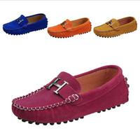 kızlar için süngerler toptan satış-Yüksek kaliteli Bahar çocuk ayakkabıları Erkek Kız Tek Rahat Ayakkabılar PU Deri Çocuk Loafer'lar Kız erkek sneakers nefes tekne Daireler 25-35