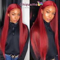 düz kırmızı saç uzantıları toptan satış-Bordo Kırmızı Malezya İnsan Saç Uzantıları Malezya Düz Saç 4 Paketler İşlenmemiş Virgin İnsan Saç Dokuma # 99J Renk Kadınlar