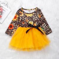 tutus do bebé do impressão do leopardo venda por atacado-2019 criança roupas de menina estampa de leopardo crianças roupas de outono meninas do bebê vestidos de girassol infantil plissado tutu vestido amarelo vestidos de manga longa