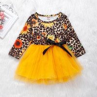 Wholesale fall girl clothes for sale - Group buy 2019 toddler girl clothes leopard print kids fall clothing baby girls sunflower dresses infant ruffle tutu dress yellow long sleeve dresses