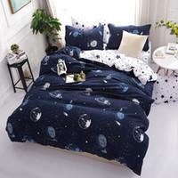kinder in voller größe bettwäsche-sets großhandel-3D Bettwäsche-Sets Star Galxy Bettbezug Blau Weiß 4 Stück Cartoon neue Mode Bettwäsche Einzel-Twin Full Queen Größen Kid oder Boys32