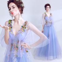 robes de demoiselle d'honneur bleu violet tulle achat en gros de-Robes de demoiselle d'honneur de mariage sexy bleu dentelle pourpre longue 2019 nouvelle robe de mariée en mousseline de soie