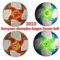 Wholesale soccer ball free shipping resale online - Best European champion high quality ball Soccer ball Final KYIV PU size balls granuless slip resistant football