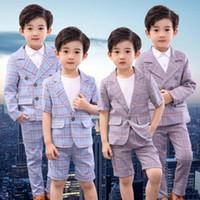 marke hose großen jungen großhandel-Big Boy Casual Anzug Kids Designer Brand Gentleman Anzug Square Button Kurzarm zweiteilige Anzüge Tasche elastische Hosen atmungsaktives Gewebe