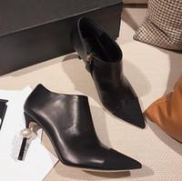 Herbst Heißer Stiefel Perle Beige C Leder Frauen Fersen Verkauf Schwarz Mode Marke Vogue Knöchel 34 Echtes jLA54R