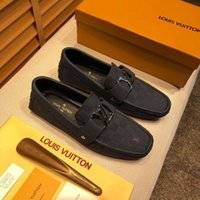 Wholesale black suede dress shoes men for sale - Group buy Luxury Design Ace Dress Shoes Black Brown Suede Leather Casual Loafers Men Slip on Pointed Oxford Shoes With Box