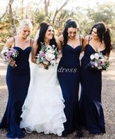Wholesale white bridesmaid buttons online - Country Dark Navy Mermaid Bridesmaid Dresses Spaghetti Backless Sweep Train Garden Wedding Guest Gowns Maid Of Honor Dress