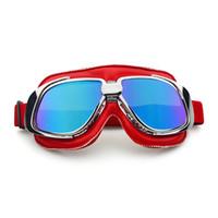 roter helm moto großhandel-Roten Rahmen Motorradbrille Helm Motorradbrille Glas Vintage Pilot Biker Leder Moto Bike ATV Brille