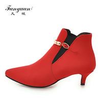 stiefel schnallen ketten großhandel-Fanyuan Mode Spitze Stiefel gürtelschnalle metallkette Reißverschluss Stiefel Sexy Feste Dünne Ferse Knöchel Frauen Schuhe