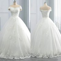 Wholesale colorful wedding dresses resale online - Stunning V Neck Winter Lace Wedding Dresses Appliques Plus Size Off the Shoulder Ball Gown Custom Vestido de novia Formal Bridal Gown A