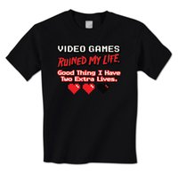 bons jeux vidéo achat en gros de-Jeux vidéo Ruined My Life, Good Thing J'ai deux extra hommes T-shirt de mode adulte T-shirt Top Tee style chinois